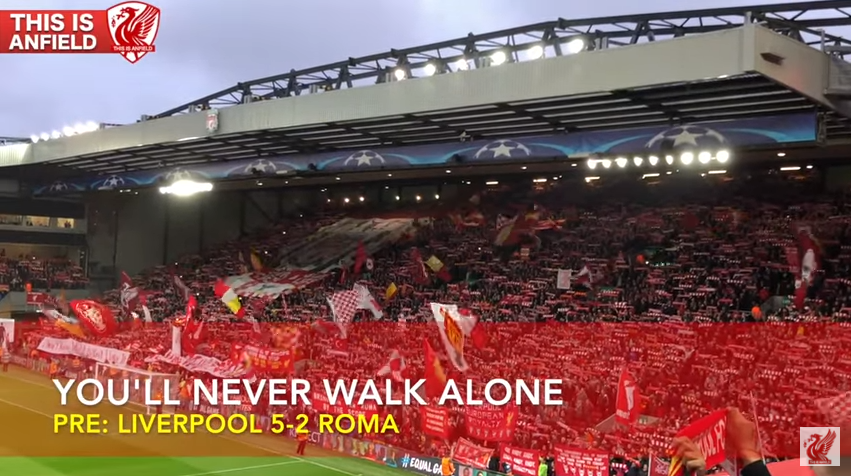You'll Never Walk Alone før Liverpool - Roma